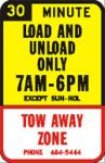 Truck loading and unloading zone sign